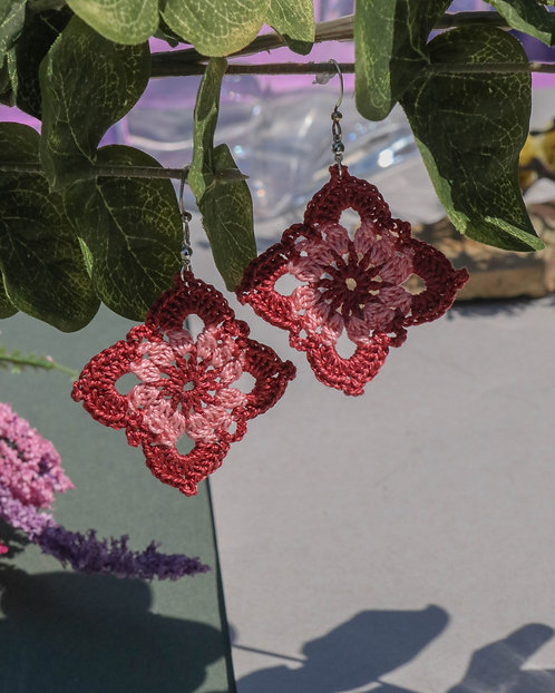 DIAMOND GRANNY SQUARE EARRINGS - choose color