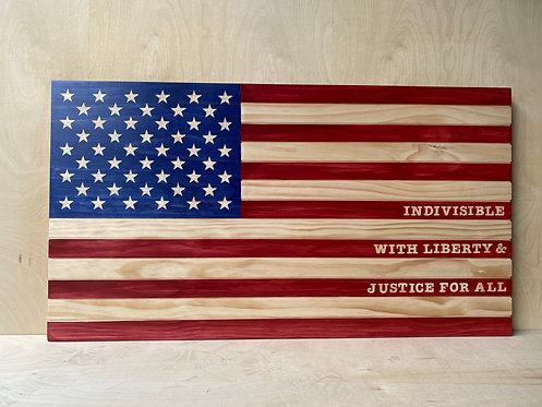 WOODEN AMERICAN FLAG SIGN* - large, hand-carved, no text, customization avail.