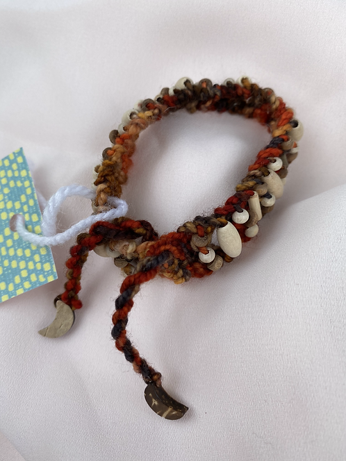 KNITTED BEADED KATRINA STYLE BRACELET with recycled wooden beads