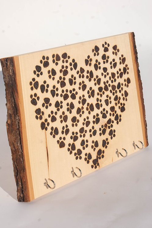 PYROGRAPHY PET SIGN - Pawprint Heart with Key Hooks