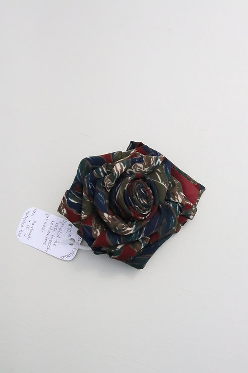 UPCYCLED FLOWER BROOCH PIN in blue/green/maroon