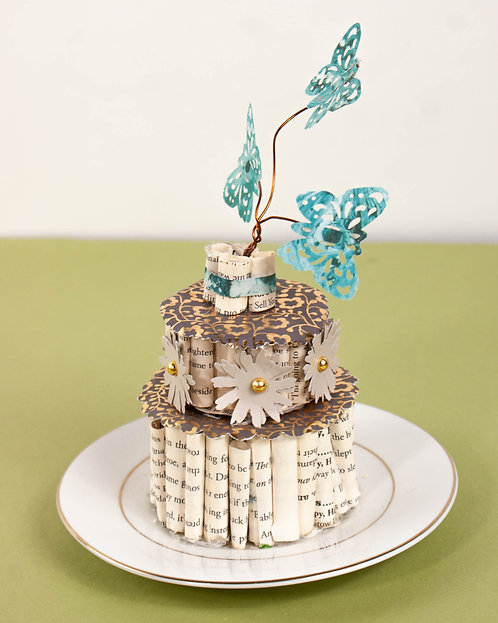 BOOK ART - Small Cake on White Plate