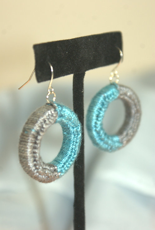 WOODEN CIRCLE EARRINGS - HAND-DYED - choose color combo