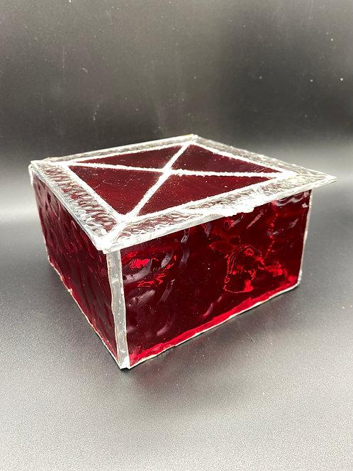 JEWELRY BOX - red granite, hammered finish