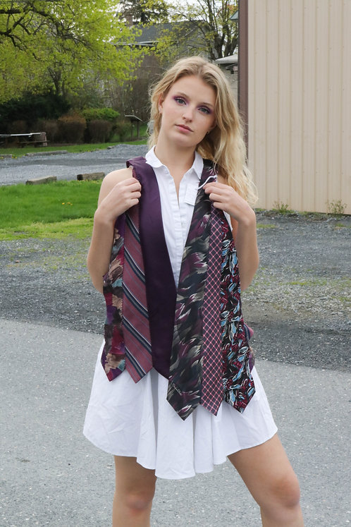 UPCYCLED FASHION TIE VEST in purples