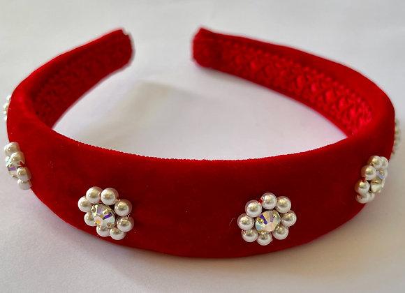Red velvet embellished headband