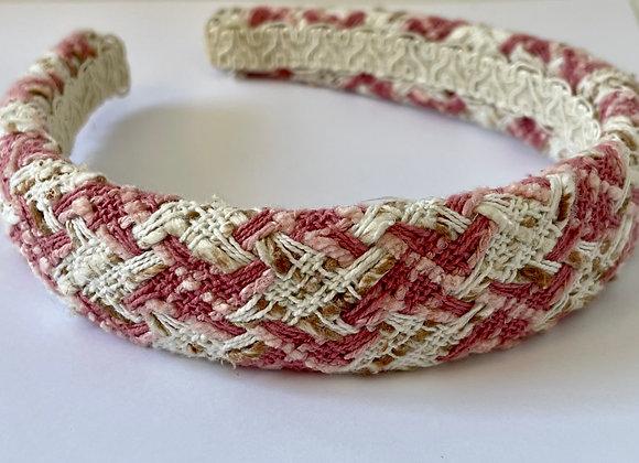 Pink and white boucle headband