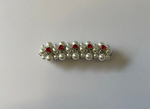 Pink crystal and pearl hair clip