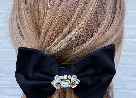 Black silk and crystal hair clip