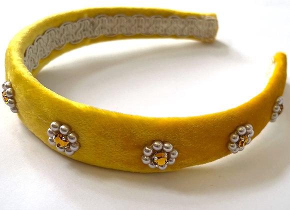 Yellow silk velvet embellished headband