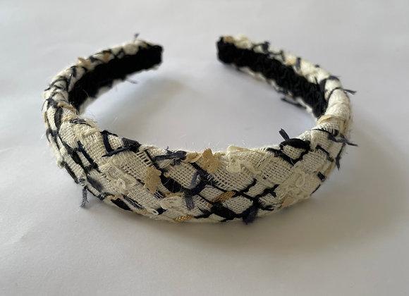 Black and white boucle mix headband