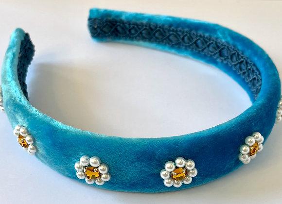 Teal silk velvet headband