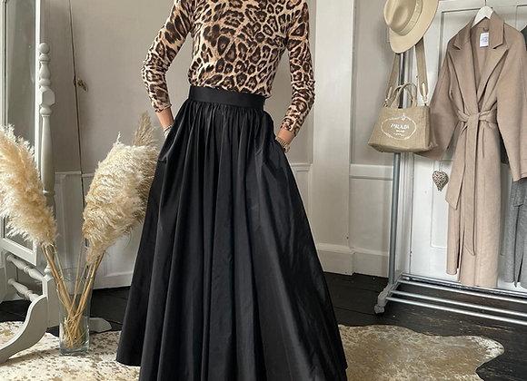 Black silk taffeta floor length skirt