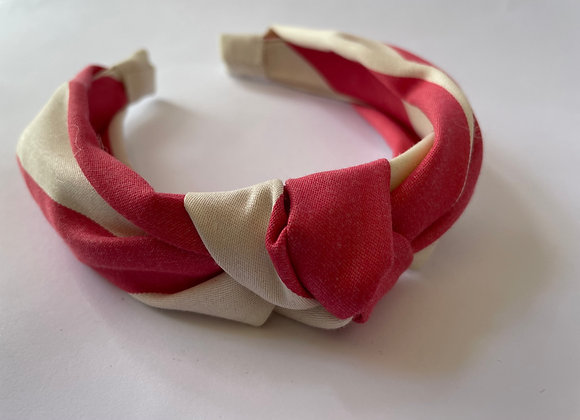 Raspberry and white stripe knotted headband