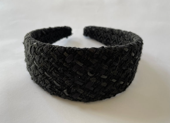 Wide black boucle headband