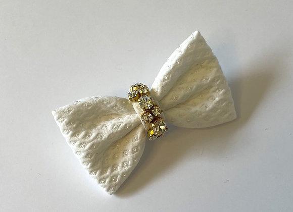 White embellished mini bow