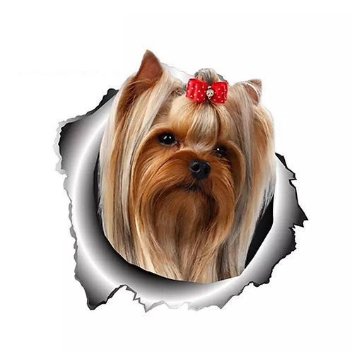 Red Bow YorkieDecal