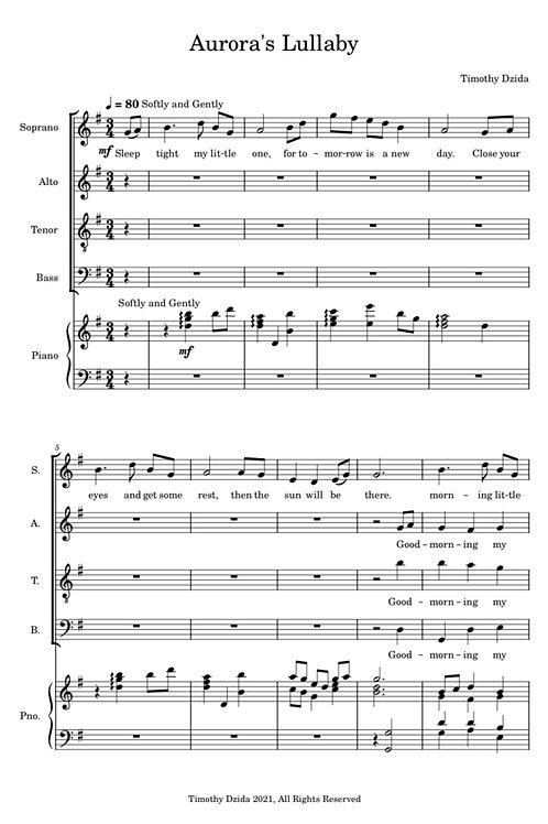Aurora's Lullaby (for piano and choir)