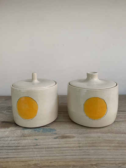 Orange spot lidded jar