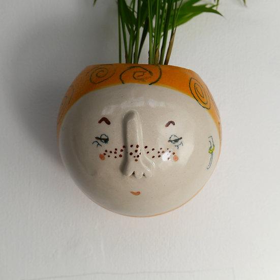 Orange Swirl Kindface Wall Pot