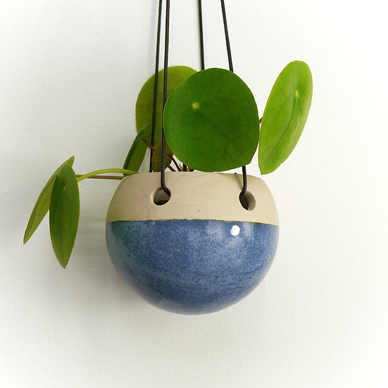 Small White Hanging Planter Dipped in Blue Glaze