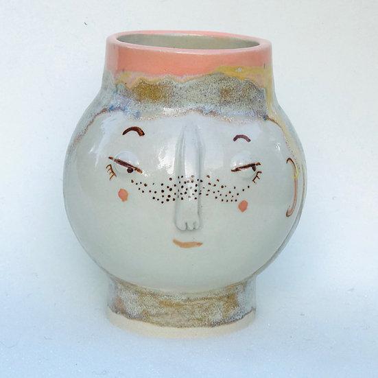 cinnamon and soft pink kindface bud vase
