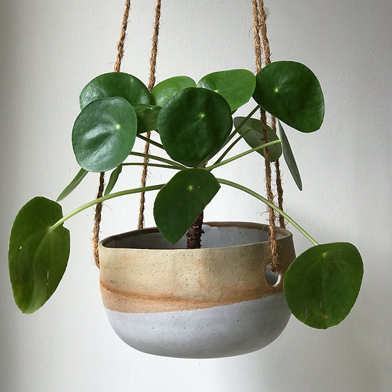 Large Flat Bottom Hanging Plant Dipped in Rhodes Dolomite Matt White Glaze