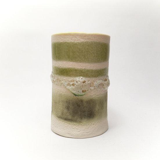 Porcelain Crackle Glaze Vase With Yellow Pop