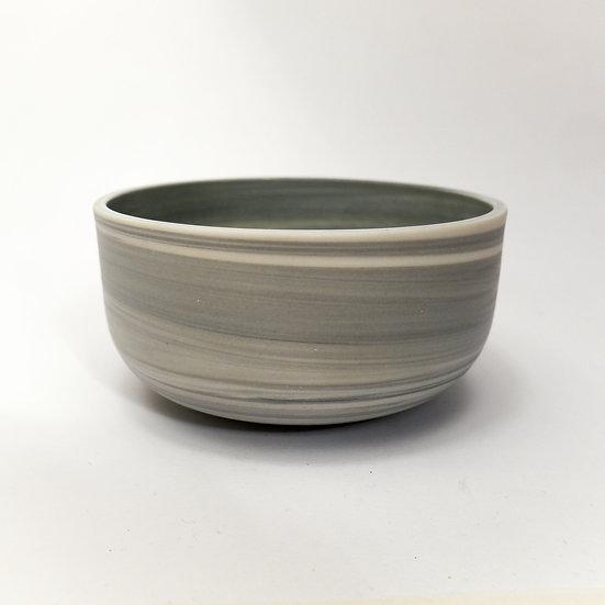 Grey Swirl Porcelain Bowl Glazed Inside