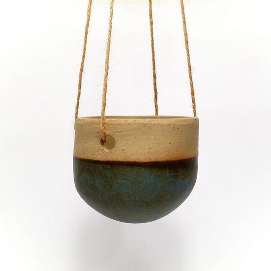 Small Hanging Planter With Dipped Pale Grey Matt Glaze