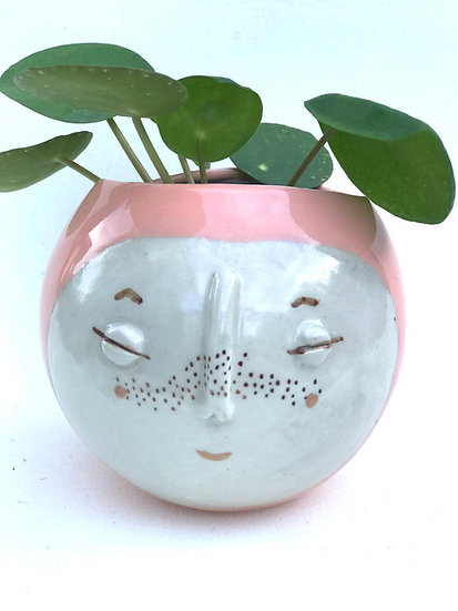 Pale Pink Kindface Wall Pot