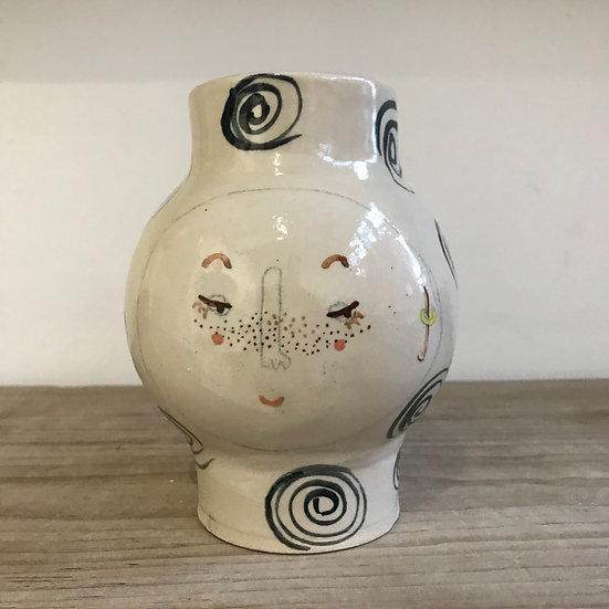 White Swirl Kindface Vase