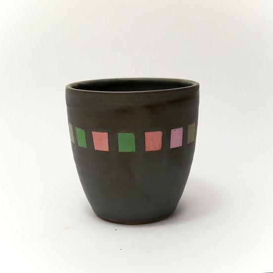 Stoneware Beaker Black Glaze Small Squares Hand Thrown
