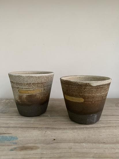 Black clay coffee beakers