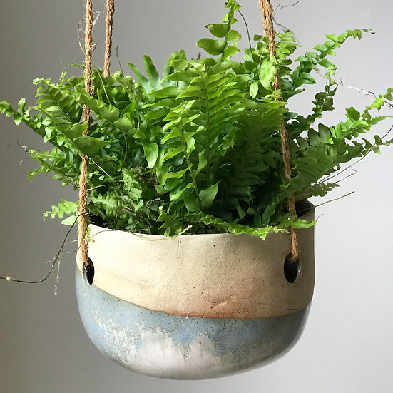 Large Flat Bottom Hanging Plant Dipped in Broken Blue Glaze