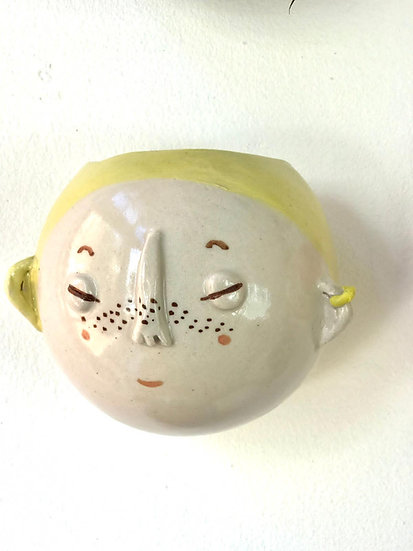 Pale Yellow with Ears Kindface Wall Pot