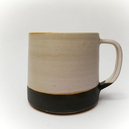 Grey/White Stoneware Hand Thrown Large Mug