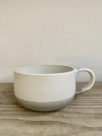 Grey/white glazed stoneware mug