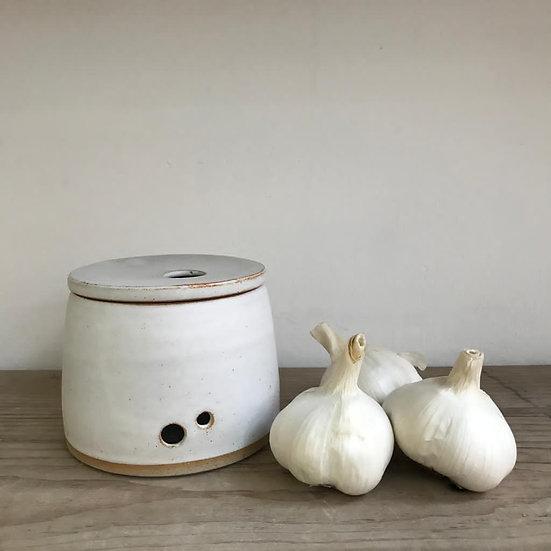 Garlic Jar  Stoneware Dolomite Glaze