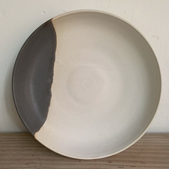 Grey and White Stoneware  deep plate