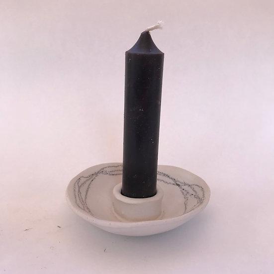 Glazed Line Stoneware Candle Holder Small