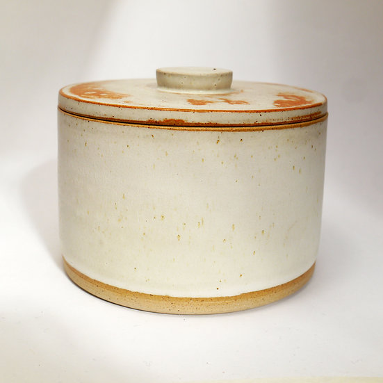 Wide Store Jar  Stoneware Dolomite Glaze With Toasted Lid