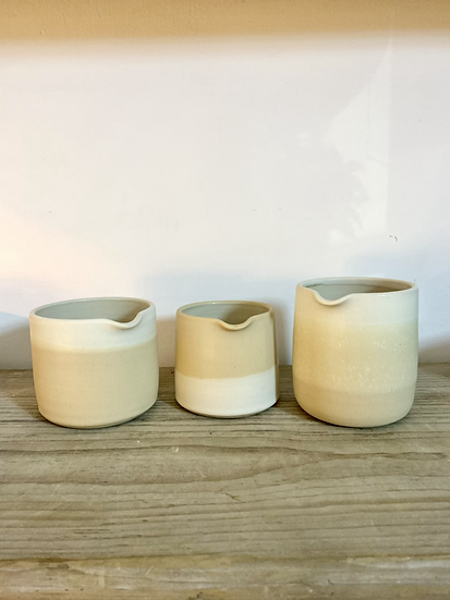 Pourers soft brown and white glaze