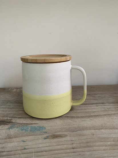 Yellow  Base Mug with bamboo lid