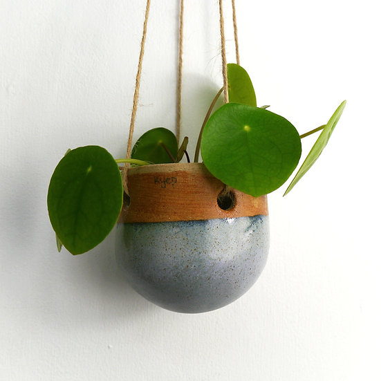 Small Hanging Planter With Dipped Broken Blue Glaze