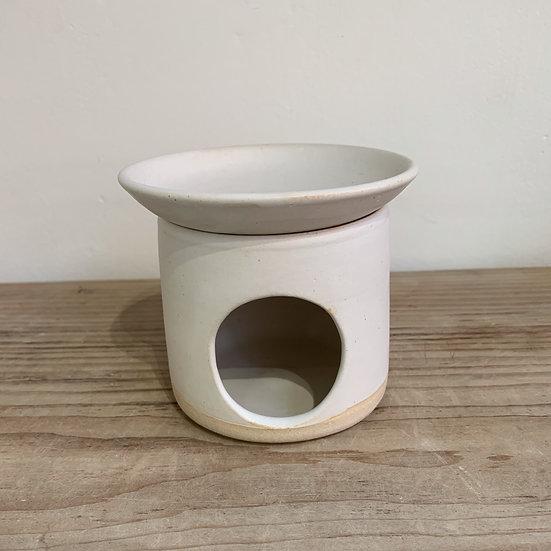 Simple White Stoneware Essential Oil Burner