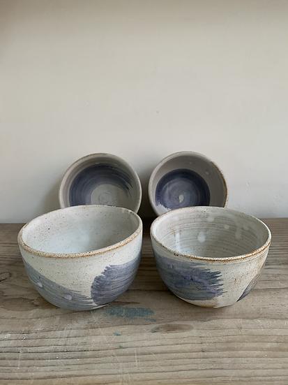 Tea bowls with cobalt swoosh