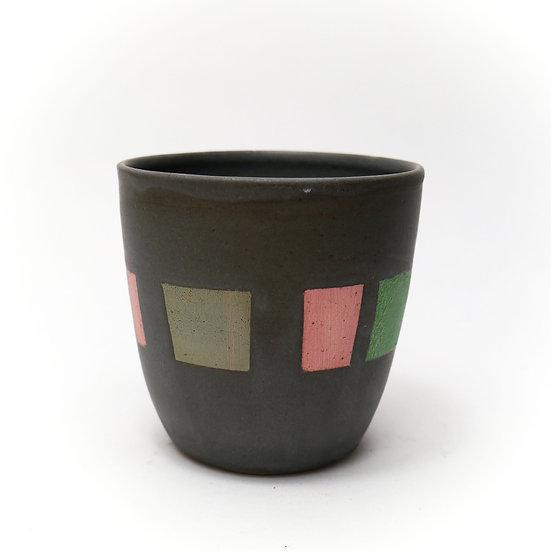 Stoneware beaker black glaze large squares hand thrown