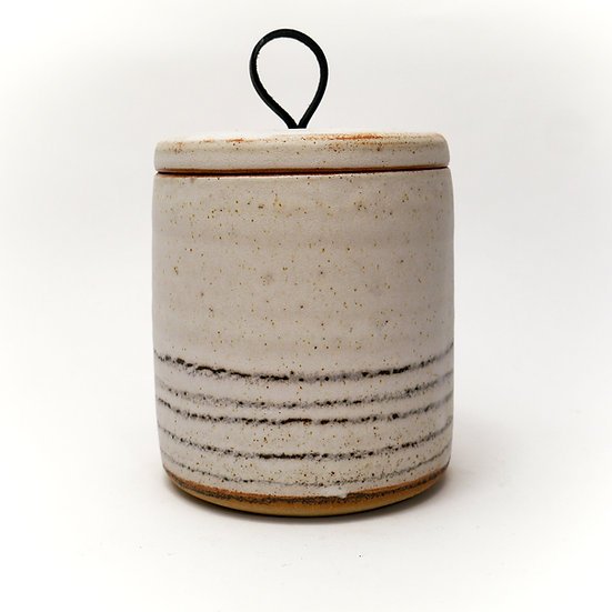 Black Stripe Store Jar, Buff Clay With Black Leather Handle