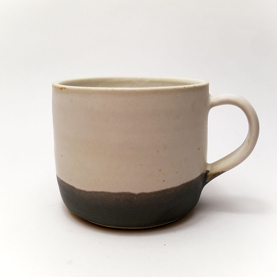 Grey/White Stoneware Hand Thrown Medium Mug